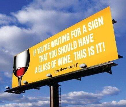 funny mages of wine looking for a sign yellow tail
