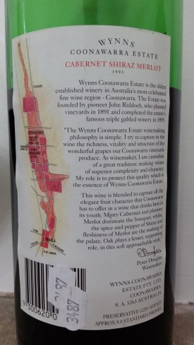 wine wankers wynns coonawarra cabernet shiraz merlot 1993 label interesting wine blog