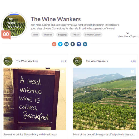 How The Wine Wankers appear on Klout