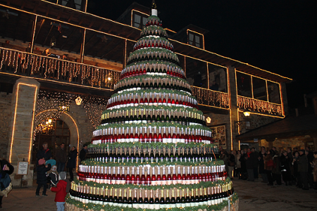 wine wankers wine bottle Christmas tree by PRADAATOPE organic sparkling wine