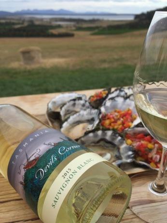 Tasmanian oysters and Sav Blanc - yum